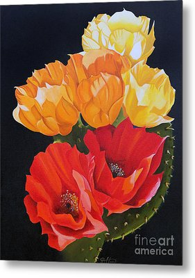 Metal Print featuring the painting Arizona Blossoms - Prickly Pear by Debbie Hart