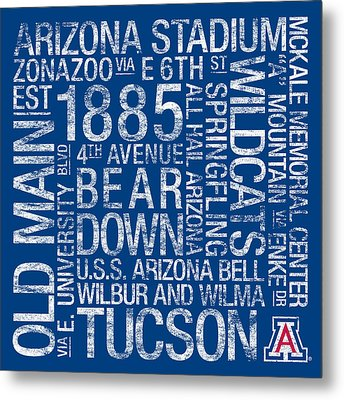 Arizona College Colors Subway Art Metal Print by Replay Photos