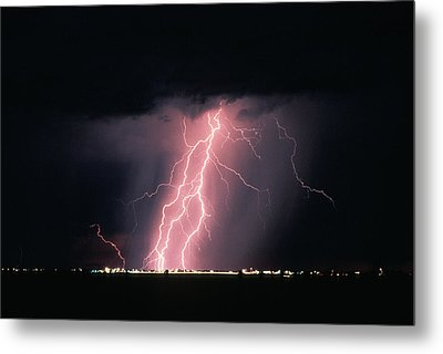 Arizona  Lightning Over City Lights Metal Print by Anonymous