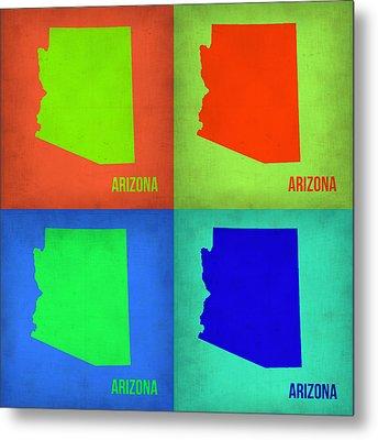 Arizona Pop Art Map 1 Metal Print by Naxart Studio