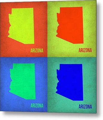 Arizona Pop Art Map 3 Metal Print by Naxart Studio