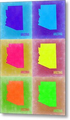 Arizona Pop Art Map 4 Metal Print by Naxart Studio