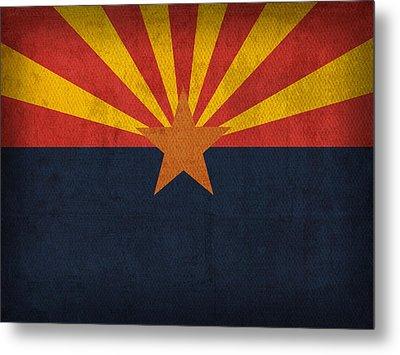 Arizona State Flag Art On Worn Canvas Metal Print by Design Turnpike