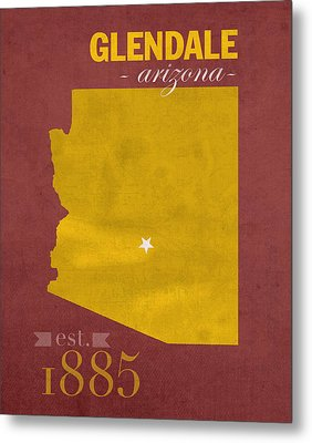 Arizona State University Sun Devils Glendale College Town State Map Poster Series No 012 Metal Print