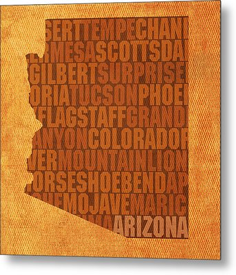 Arizona Word Art State Map On Canvas Metal Print