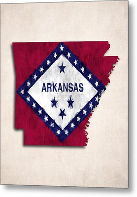 Arkansas Map Art With Flag Design Metal Print by World Art Prints And Designs