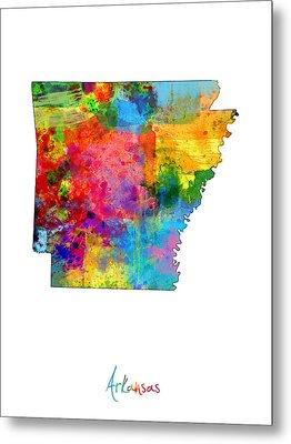 Arkansas Map Metal Print by Michael Tompsett