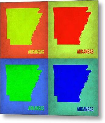 Arkansas Pop Art Map 1 Metal Print by Naxart Studio