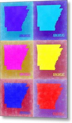 Arkansas Pop Art Map 2 Metal Print by Naxart Studio