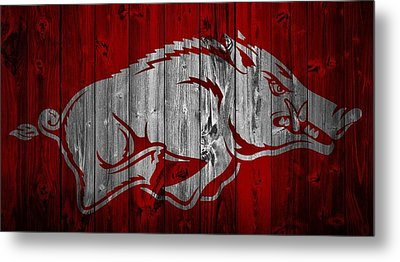 Arkansas Razorbacks Barn Door Metal Print by Dan Sproul
