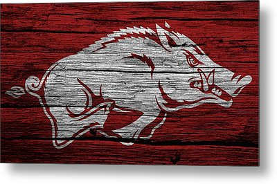 Arkansas Razorbacks On Wood Metal Print by Dan Sproul