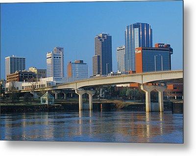 Arkansas River And Skyline In Little Metal Print