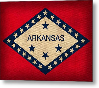 Arkansas State Flag Art On Worn Canvas Metal Print by Design Turnpike