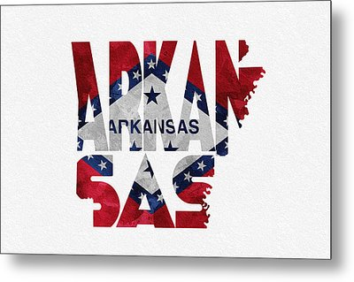 Arkansas Typographic Map Flag Metal Print by Ayse Deniz