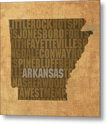 Arkansas Word Art State Map On Canvas Metal Print by Design Turnpike