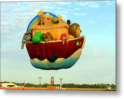 Arky Hot Air Balloon Metal Print by Kathy  White