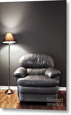 Armchair And Floor Lamp Metal Print