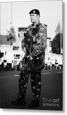 Armed British Soldier On Crumlin Road At Ardoyne Shops Belfast 12th July Metal Print