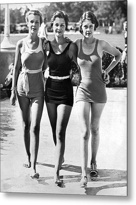 Army Bathing Suit Trio Metal Print by Underwood Archives