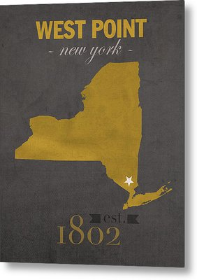 Army Black Knights West Point New York Usma College Town State Map Poster Series No 015 Metal Print