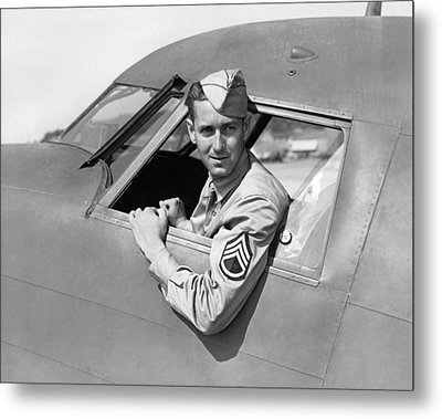 Army Pilot Looking Out Window Metal Print
