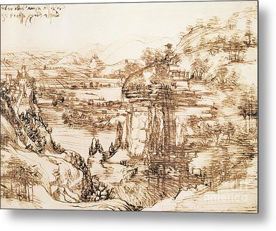 Arno Landscape Metal Print by Leonardo da Vinci