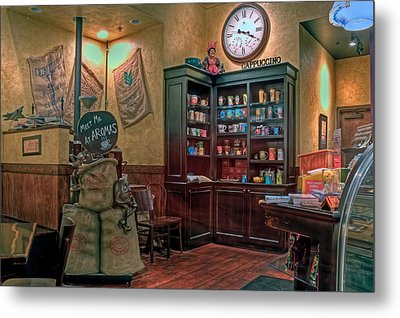 Metal Print featuring the photograph Aromas Coffee Shop Newport News Virginia by Jerry Gammon