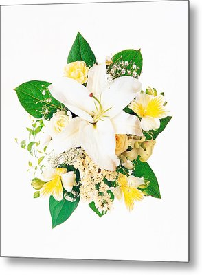 Arranged Flowers And Leaves On White Metal Print by Panoramic Images