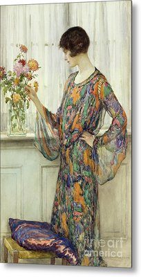 Arranging Flowers Metal Print by William Henry Margetson