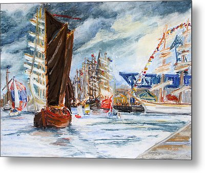 Arrival At The Hanse Sail Rostock Metal Print by Barbara Pommerenke