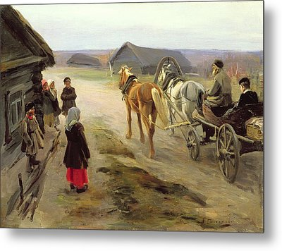 Arrival Of A School-mistress In The Country, C.1908-14 Oil On Canvas Metal Print by Alexei Steipanovitch Stepanov