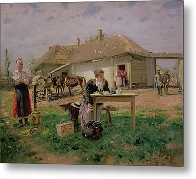 Arrival Of A School Mistress In The Countryside, 1897 Oil On Canvas Metal Print