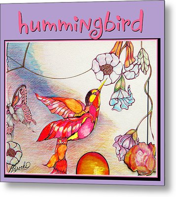 Metal Print featuring the drawing Hummingbird And Flower by Brooks Garten Hauschild