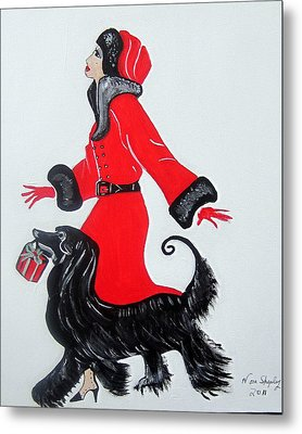 Metal Print featuring the painting Art Deco  Girl With Red  Coat by Nora Shepley