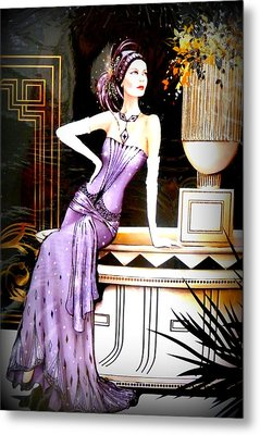 Art Deco Lady In Purple Metal Print