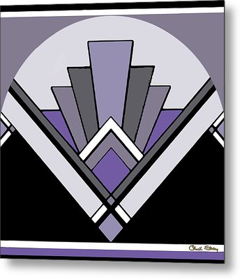 Art Deco Pattern Two - Purple Metal Print