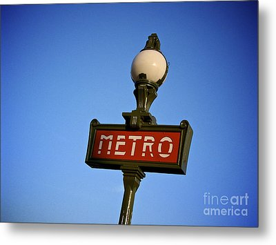 Art Deco Subway Entrance Sign. Paris Metal Print