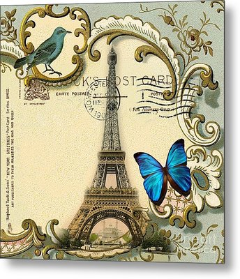 Art Deco Swirls Butterfly Eiffel Tower Paris Metal Print by Cranberry Sky