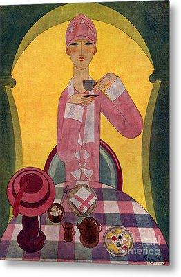 Art Deco Tea Drinking 1926 1920s Spain Metal Print by The Advertising Archives