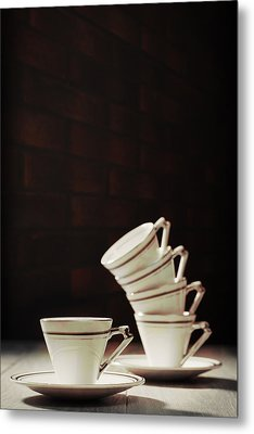 Art Deco Teacups Metal Print by Amanda Elwell