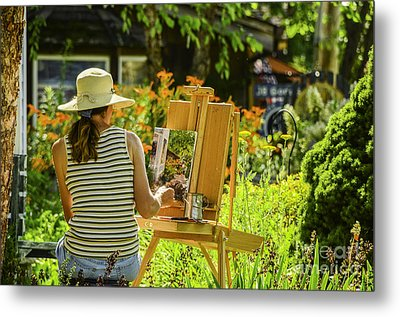 Art In The Garden Metal Print by Mary Carol Story