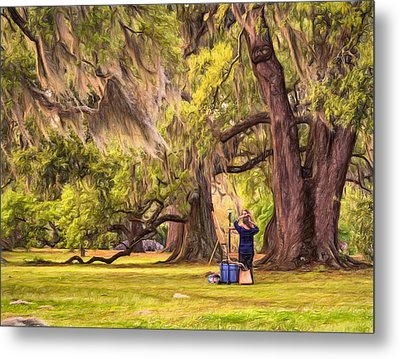 Art Lesson In City Park New Orleans  Metal Print by Steve Harrington