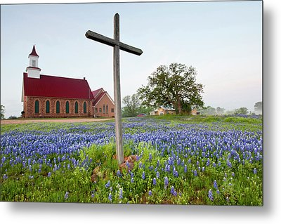 Art Methodist Church And Bluebonnets Metal Print by Larry Ditto