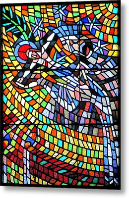 Art Nouveau Stained Glass Windows Ss Vitus Cathedral Prague Metal Print by Christine Till