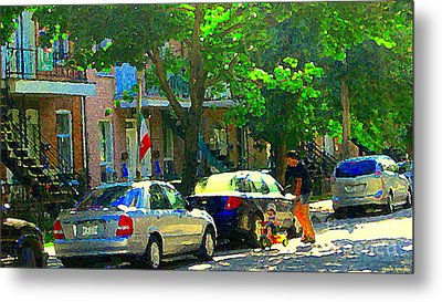 Art Of Montreal Day With Daddy And Yellow Wagon Zooming Our Streets Of Verdun Scene Carole Spandau  Metal Print by Carole Spandau