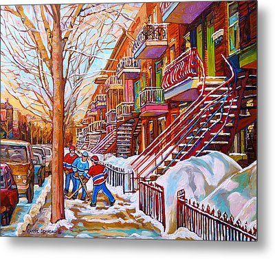 Art Of Montreal Staircases In Winter Street Hockey Game City Streetscenes By Carole Spandau Metal Print