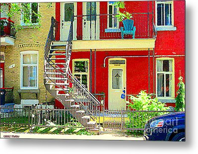 Art Of Montreal Upstairs Porch With Summer Chair Red Triplex In Verdun City Scene C Spandau Metal Print by Carole Spandau