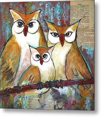 Art Owl Family Portrait Metal Print by Blenda Studio