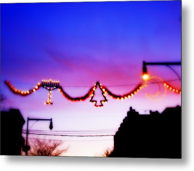 Metal Print featuring the photograph Arthur Avenue Holiday Lights by Aurelio Zucco