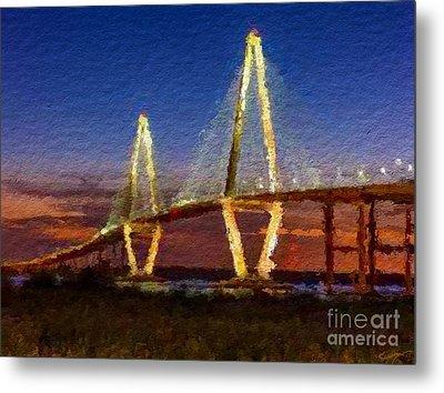 Arthur Ravenel Bridge At Evening  Metal Print by Anthony Fishburne